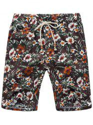 Three Pockets Flower Linen Shorts