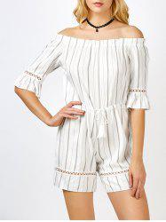 Off The Shoulder Striped Tassel Romper