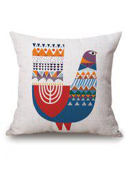 Colorful Geometry Chicken Print Cotton Linen Pillowcase