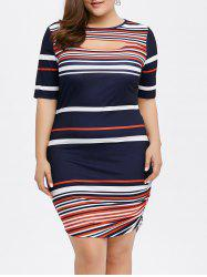 Plus Size Cut Out Ruched Striped Fitted Dress