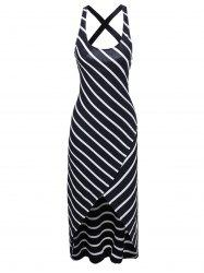 Criss Cross Striped Overlap Midi Summer Dress