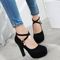 Cross Strap Rhinestone Pumps - BLACK