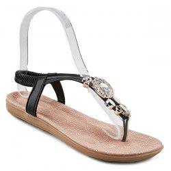 Elastic Band Rhinestones Flat Sandals - BLACK