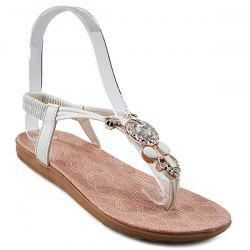 Elastic Band Rhinestones Flat Sandals - WHITE