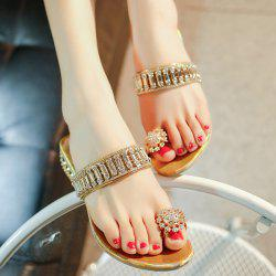 Rhinestones Metallic Color Slippers