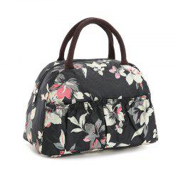 Casual Nylon Printed Tote Bag - BLACK