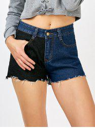 Menottées contraste Shorts Denim -