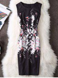 Sleeveless Bodycon Floral Dress - BLACK XL