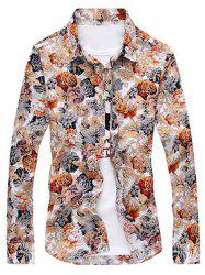 Long Sleeve Buttoned Floral Print Shirt