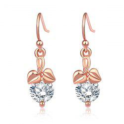 Rhinestone Heart Leaves Drop Earrings