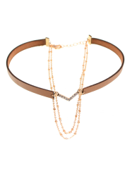 Rhinestone Faux Leather V-Shaped Choker Necklace