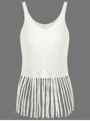 Ribbed Tassel Knitted Tank Top - OFF-WHITE