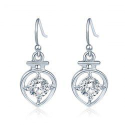 Faux Diamond Hollow Out Drop Earrings