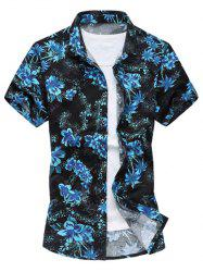 Casual Short Sleeve Summer Button Down Hawaiian Shirt - BLUE