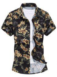 Casual Short Sleeve Summer Button Down Hawaiian Shirt - YELLOW L