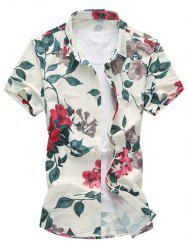 Floral Print Short Sleeve Hawaiian Shirt - RED
