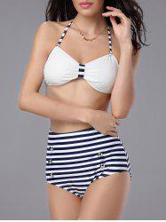 Buttoned Stripe Vintage High Waisted Bikini