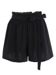 Plus Size Self Tie Culotte Shorts - BLACK