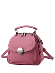 Cross Body Metal Detail Convertible Bag - PINK