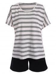 Plus Size Active Stripe T-Shirt With Shorts