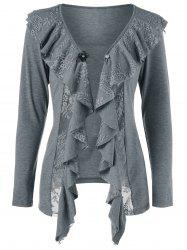Lace Insert Cardigan with Brooch - GRAY