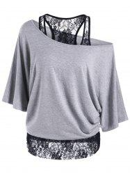 Skew Collar Lace Trim T-Shirt - GRAY M