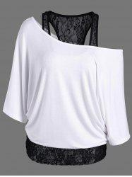 Skew Collar Lace Trim T-Shirt