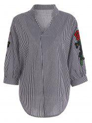 Plus Size Floral Pinstripe Embroidered Striped Shirt