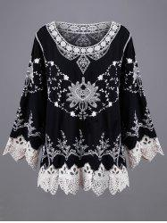 Tiny Floral Embroidery Scalloped Lace Blouse -
