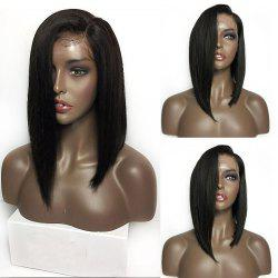 Medium Sided Part Bob Straight Lace Front Synthetic Wig - BLACK