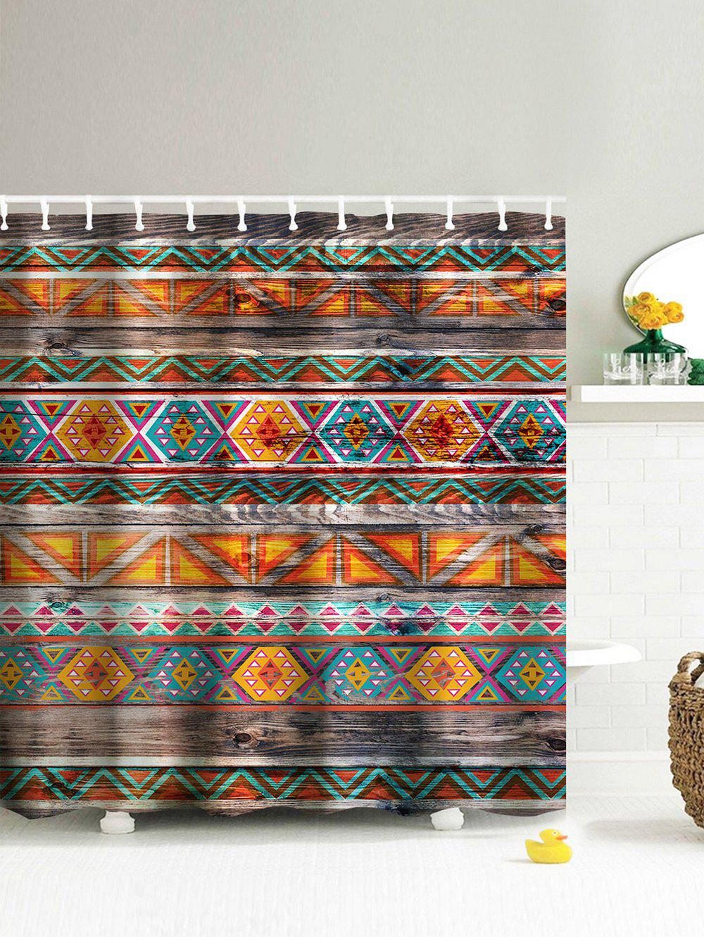 Image of Eco-Friendly Dream Tribal Wooden Print Shower Curtain
