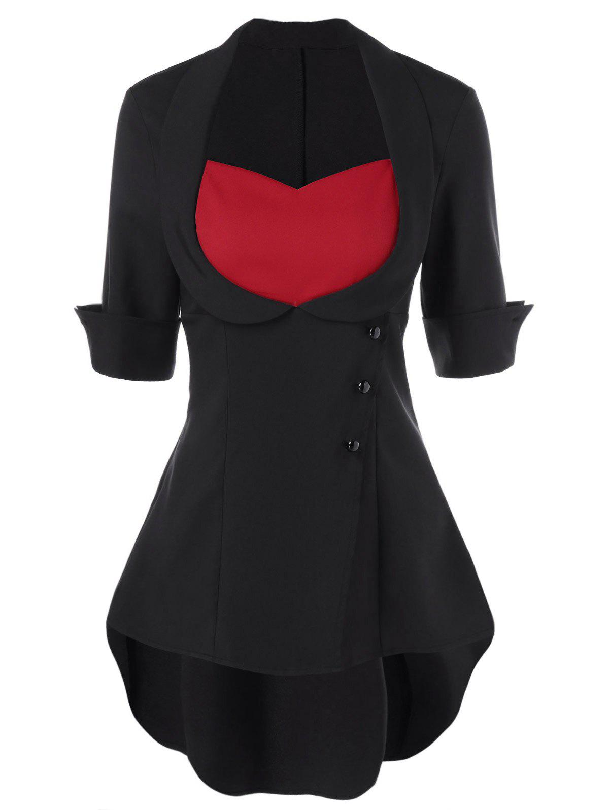 High Low Hem Lace Up BlouseWOMEN<br><br>Size: XL; Color: RED WITH BLACK; Style: Fashion; Material: Cotton,Polyester; Shirt Length: Long; Sleeve Length: Short; Collar: Sweetheart Neck; Pattern Type: Solid; Season: Spring,Summer; Weight: 0.3600kg; Package Contents: 1 x Blouse;