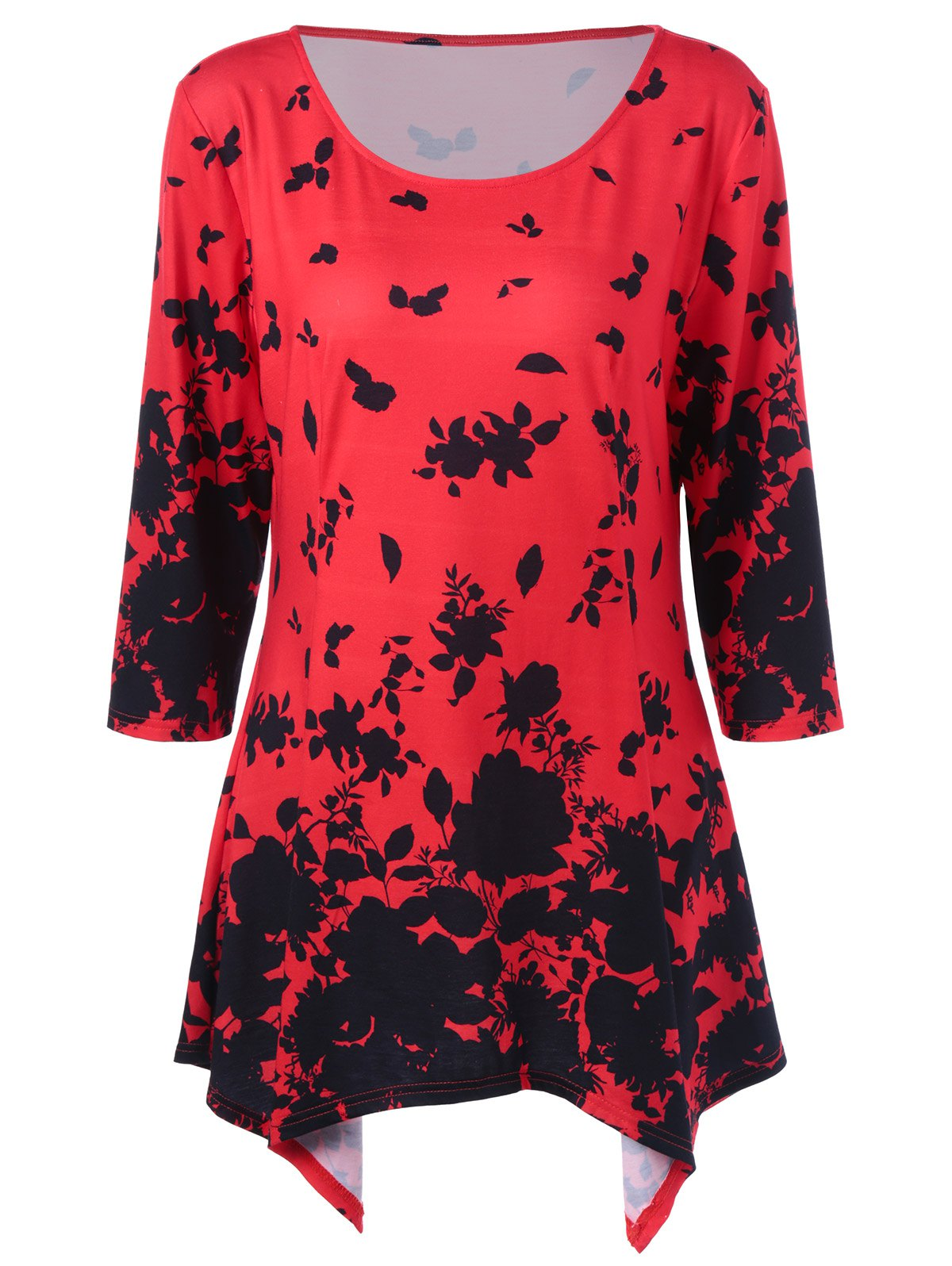 Plus Size Floral Asymmetrical Tunic T-Shirt от Rosegal.com INT