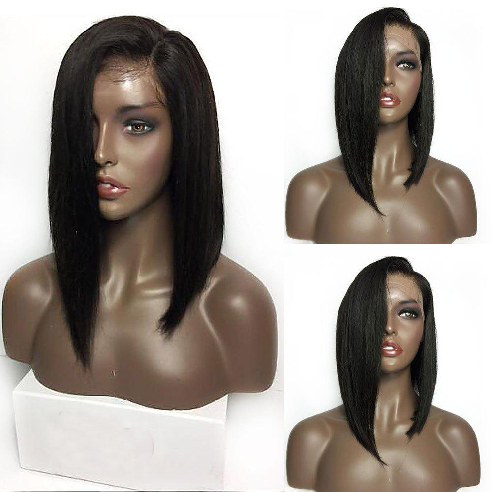 Medium Sided Part Bob Straight Lace Front Synthetic WigHAIR<br><br>Color: BLACK; Type: Full Wigs; Cap Construction: Lace Front; Style: Straight; Material: Synthetic Hair; Bang Type: Side; Length: Medium; Lace Wigs Type: Lace Front Wigs; Length Size(Inch): 14; Weight: 0.2800kg; Package Contents: 1 x Wig;