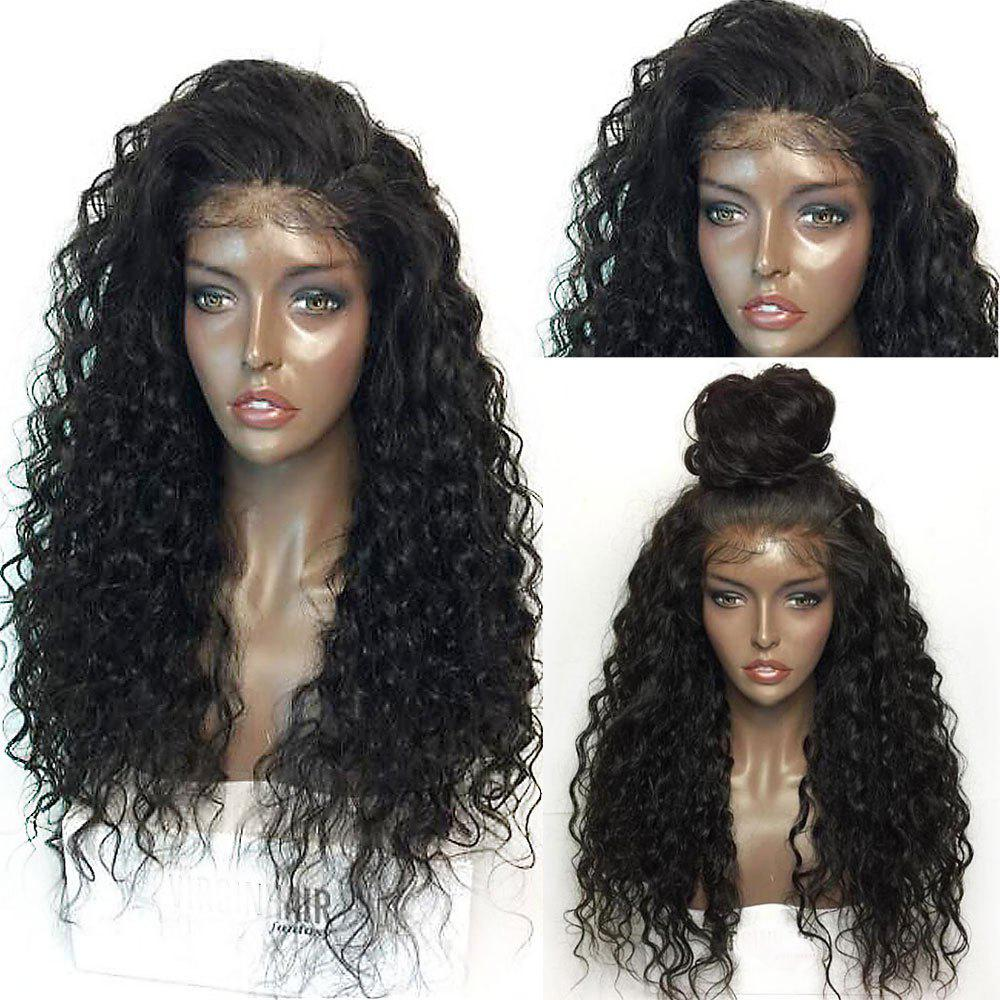 Fluffy Curly Long Lace Frontal Synthetic WigHAIR<br><br>Color: BLACK; Type: Full Wigs; Cap Construction: Lace Front; Style: Curly; Material: Synthetic Hair; Bang Type: None; Length: Long; Lace Wigs Type: Lace Front Wigs; Length Size(Inch): 26; Weight: 0.3000kg; Package Contents: 1 x Wig;