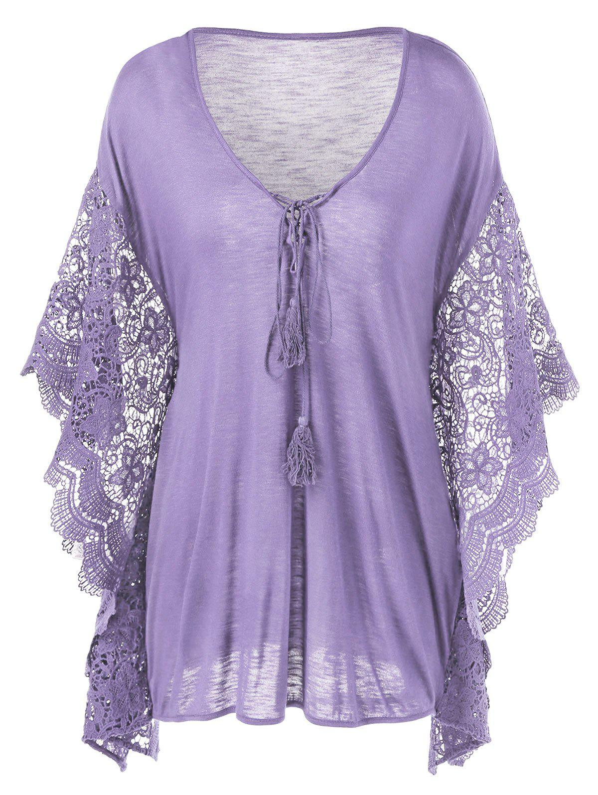 7390c09bc7ee 31% OFF] Plus Size Butterfly Sleeve Crochet Trim Blouse Lace Tops ...