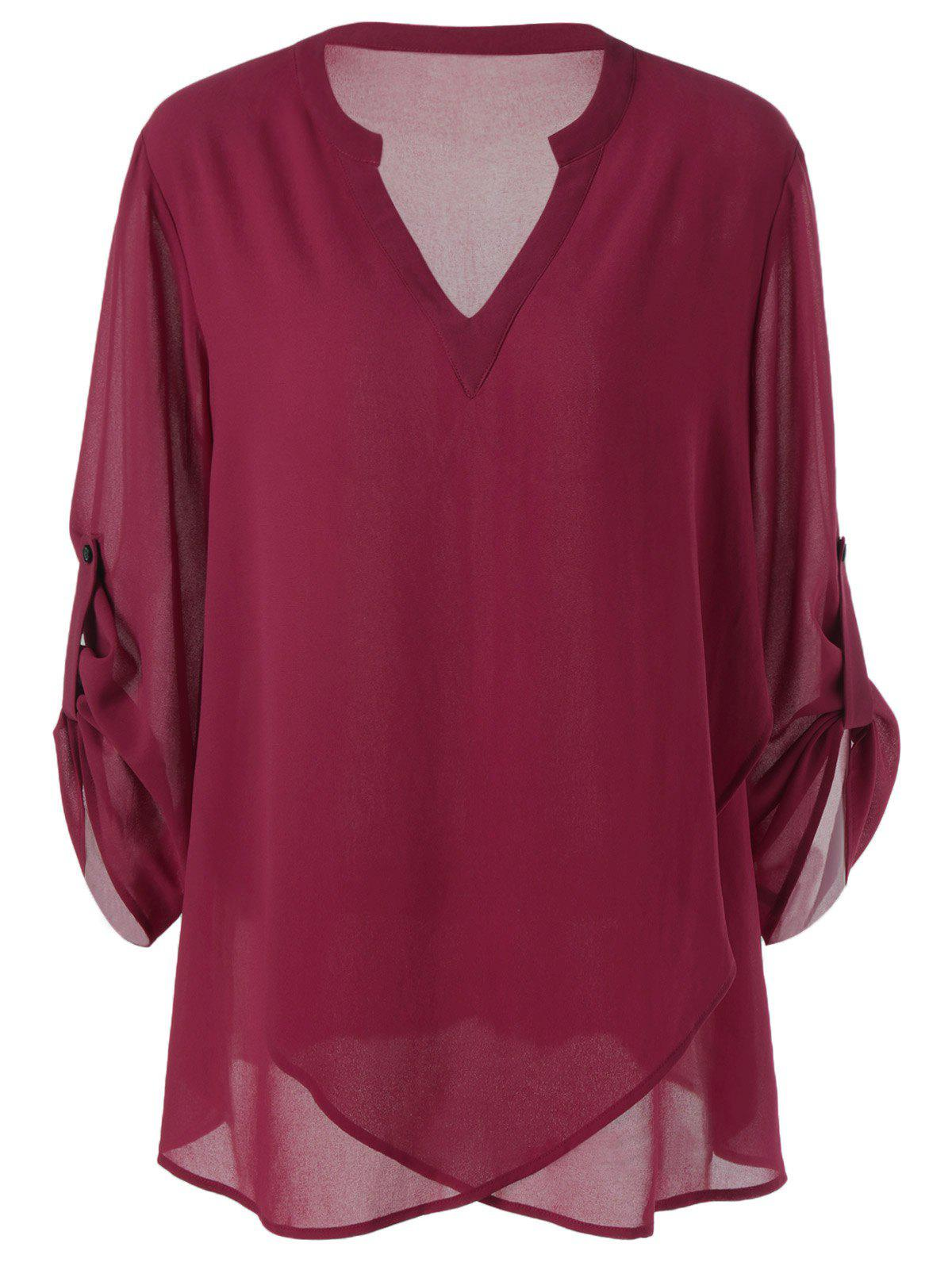Plus Size Split-Neck Adjustable Sleeve BlouseWOMEN<br><br>Size: XL; Color: WINE RED; Material: Polyester; Shirt Length: Long; Sleeve Length: Full; Collar: V-Neck; Style: Casual; Season: Fall,Spring,Summer; Pattern Type: Solid; Weight: 0.3400kg; Package Contents: 1 x Blouse;