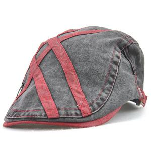 Cross Stripes Sewing Thread Cabbie Hat - Wine Red