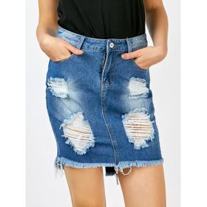 Broken Hole Fringed Denim Skirt With Pockets