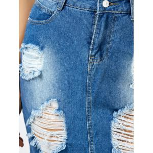 Broken Hole Fringed Denim Skirt With Pockets - BLUE XL