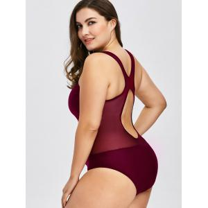 Plus Size Mesh Insert Racerback One Piece Swimwear - CLARET 5XL