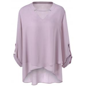Plus Size Split-Neck Overlap Blouse