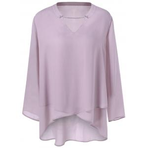 Plus Size Split-Neck Overlap Blouse - PALE PINKISH GREY 4XL