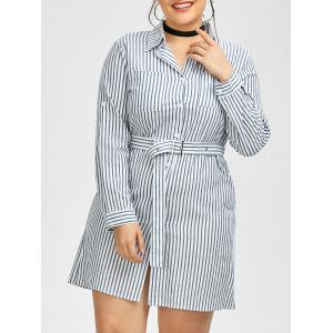 Plus Size Belted Striped Fitted Formal Shirt Dress