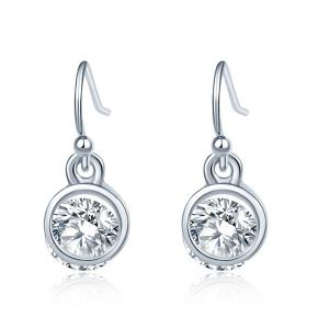 Round Faux Crystal Drop Earrings