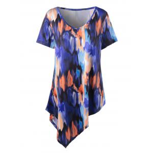Plus Size Tie Dye Asymmetrical Tunic T-Shirt