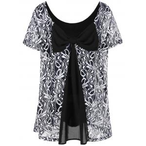 Plus Size Lace Trim Blouse with Bowknot - White And Black - 3xl