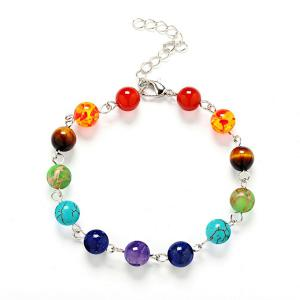 Multicolor Artificial Gem Bohemian Bead Bracelet - Turquoise Blue
