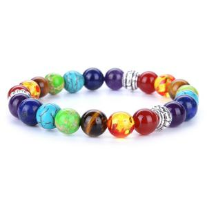 Multicolor Faux Gem Embellished Beads Bracelet - Silver - One-size