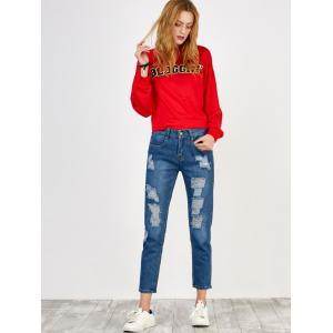 High Rise Broken Hole Jeans - BLUE M